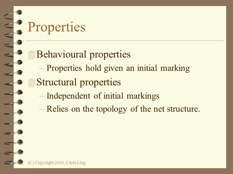 Properties Behavioural properties Structural properties