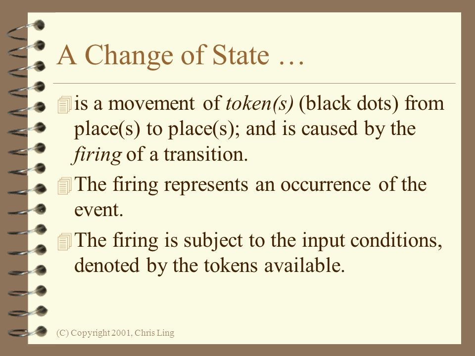 A Change of State … is a movement of token(s) (black dots) from place(s) to place(s); and is caused by the firing of a transition.