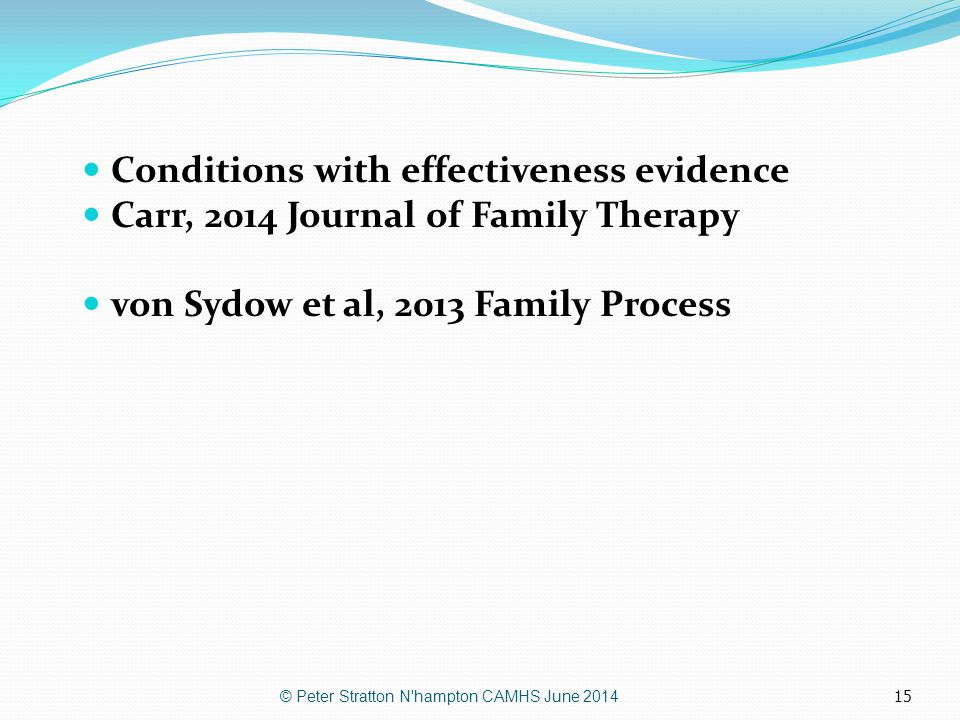 Conditions with effectiveness evidence