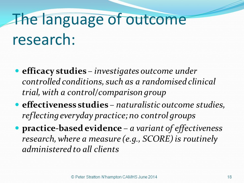 The language of outcome research: