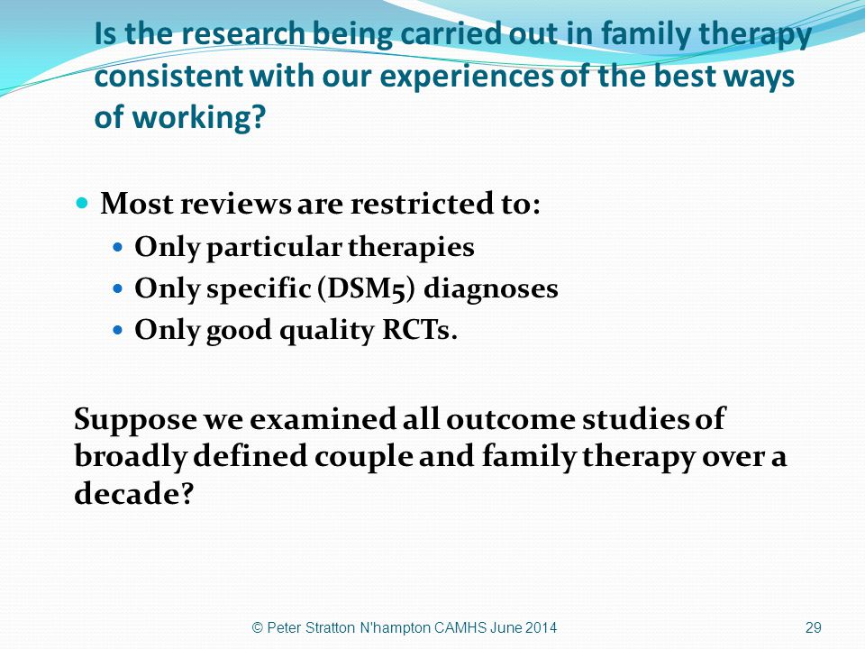 Is the research being carried out in family therapy consistent with our experiences of the best ways of working