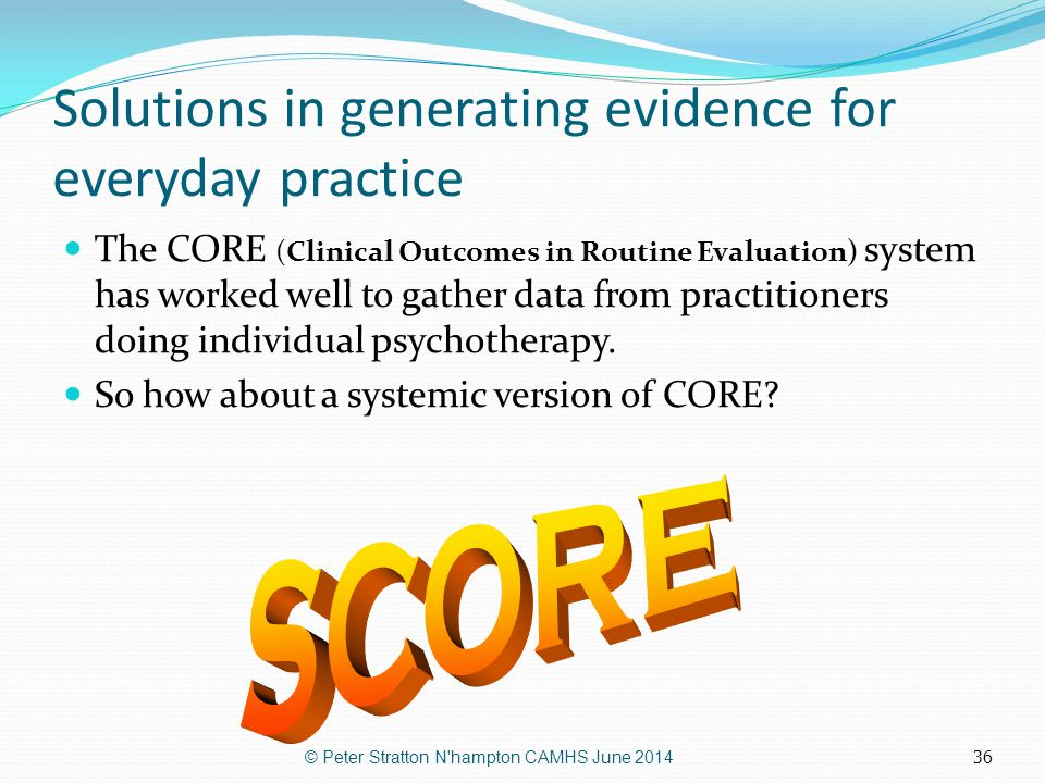 Solutions in generating evidence for everyday practice