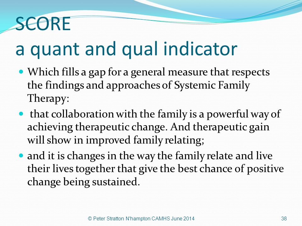 SCORE a quant and qual indicator