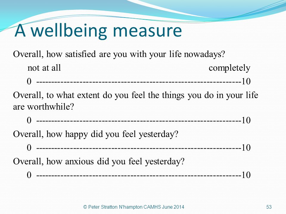 A wellbeing measure