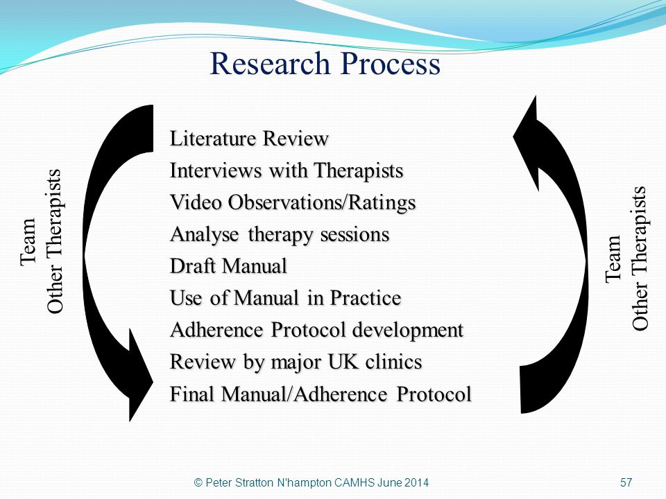 Research Process Literature Review Interviews with Therapists