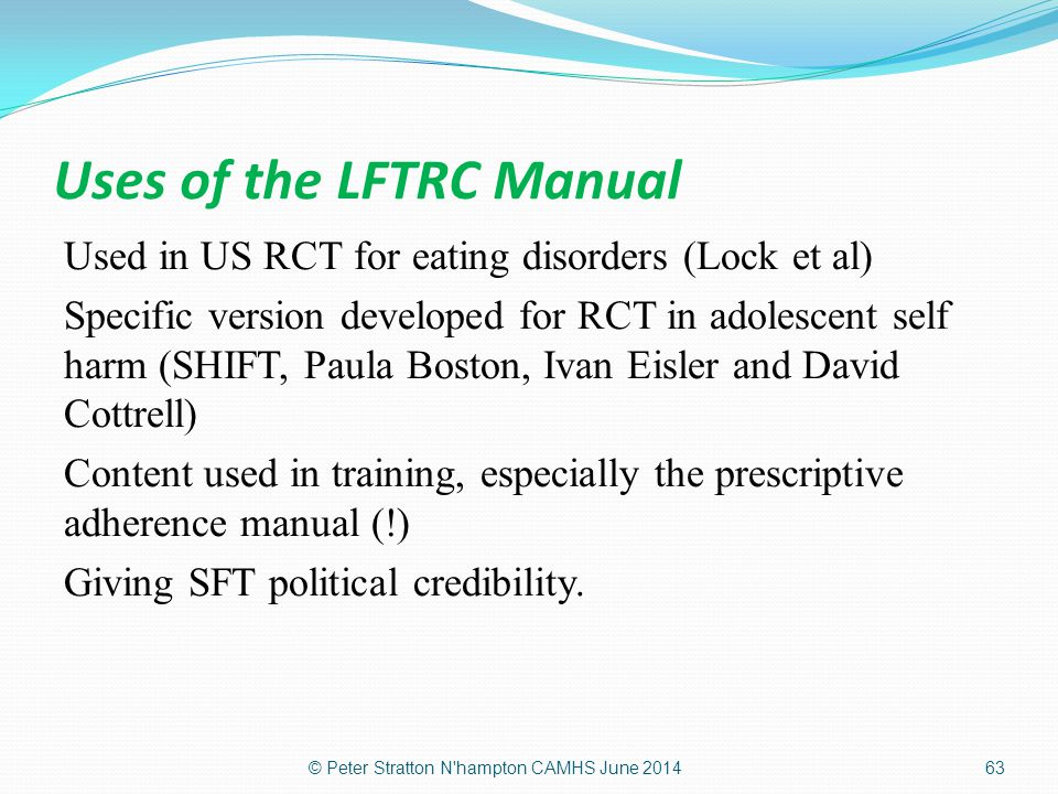 Uses of the LFTRC Manual