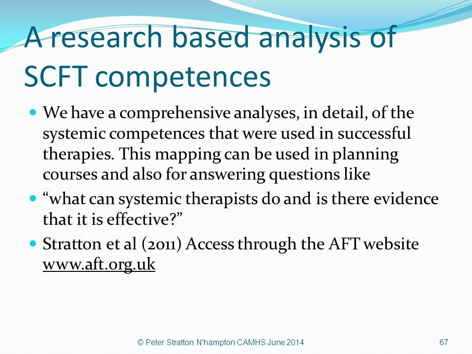 A research based analysis of SCFT competences