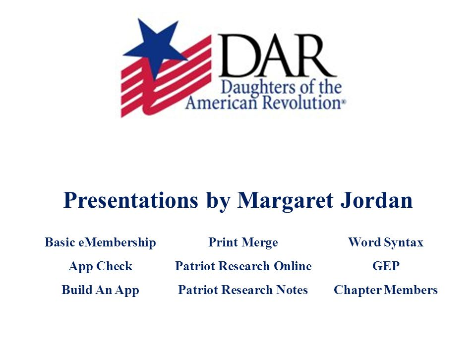 Presentations by Margaret Jordan