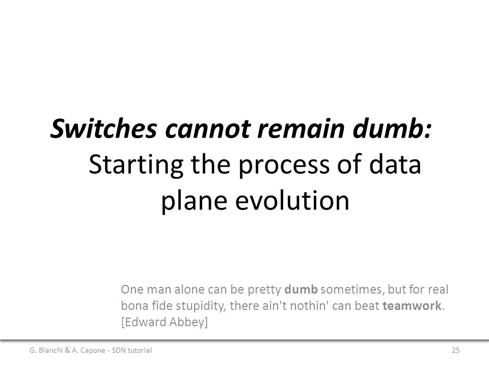 Switches cannot remain dumb: Starting the process of data plane evolution