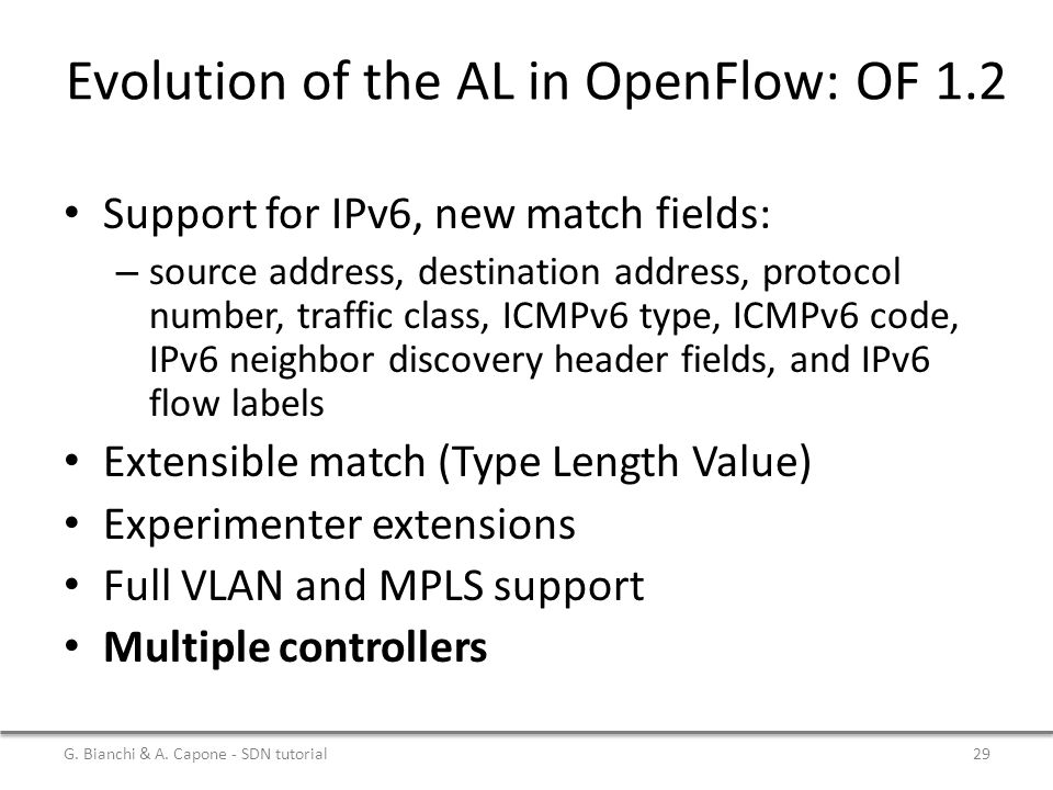 Evolution of the AL in OpenFlow: OF 1.2