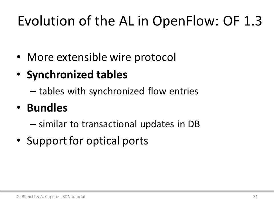 Evolution of the AL in OpenFlow: OF 1.3