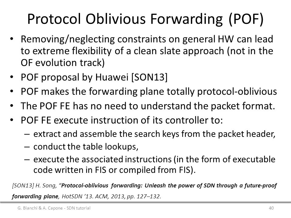 Protocol Oblivious Forwarding (POF)