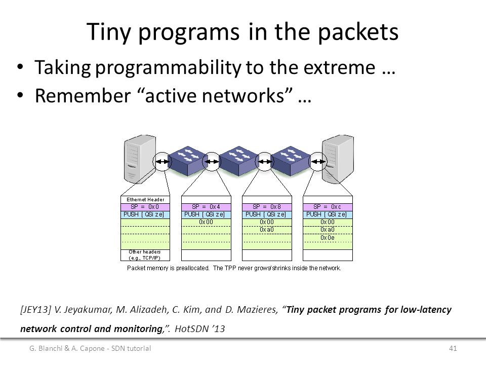 Tiny programs in the packets