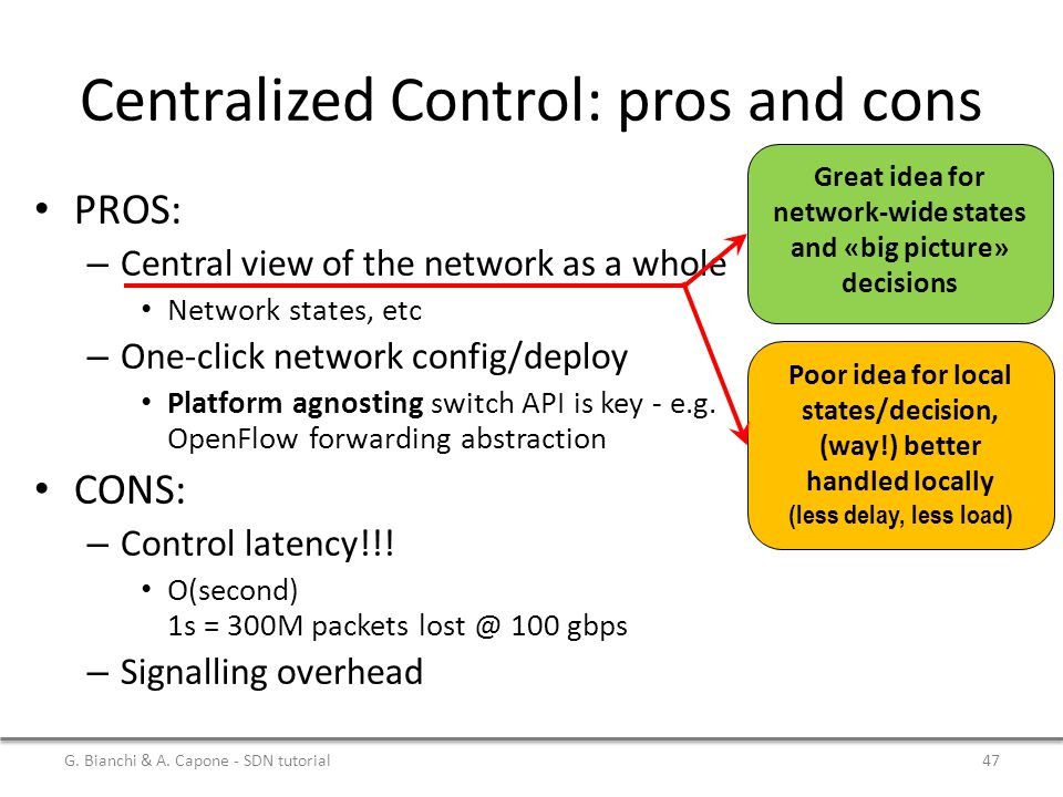 Centralized Control: pros and cons