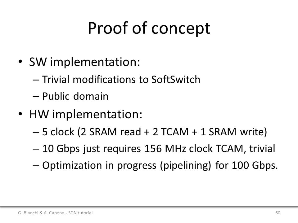 Proof of concept SW implementation: HW implementation: