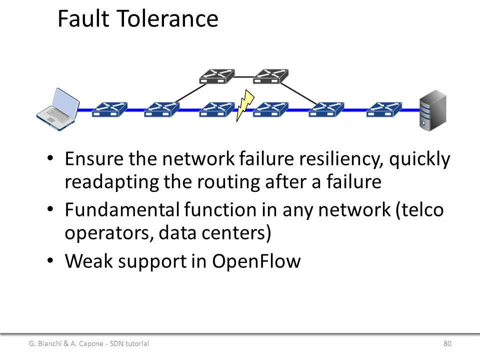 Fault Tolerance Ensure the network failure resiliency, quickly readapting the routing after a failure.
