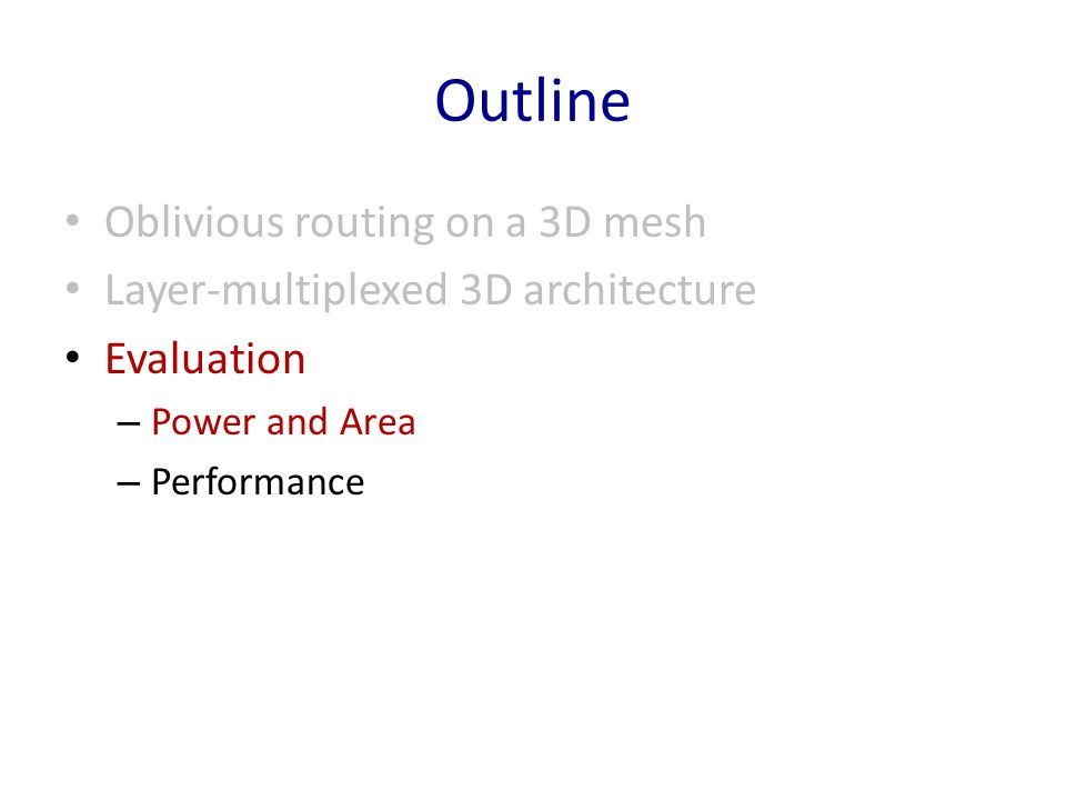 Outline Oblivious routing on a 3D mesh
