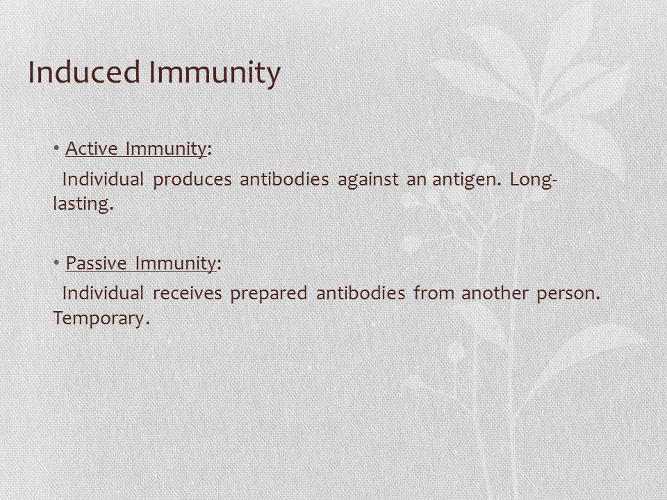 Induced Immunity Active Immunity: