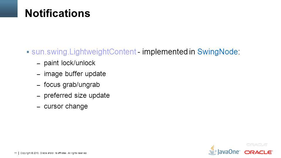 Notifications sun.swing.LightweightContent ‑ implemented in SwingNode: