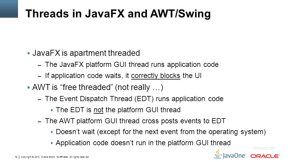 Threads in JavaFX and AWT/Swing