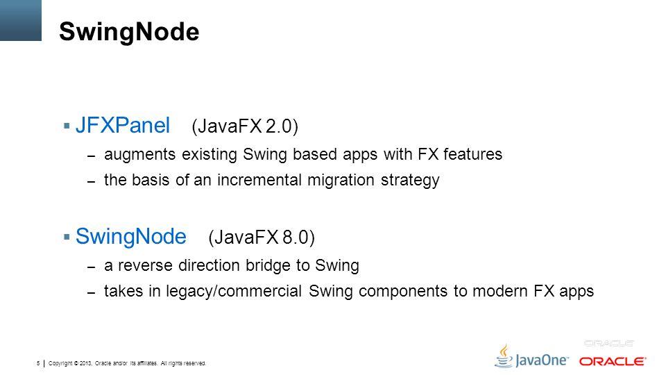 SwingNode JFXPanel (JavaFX 2.0) SwingNode (JavaFX 8.0)