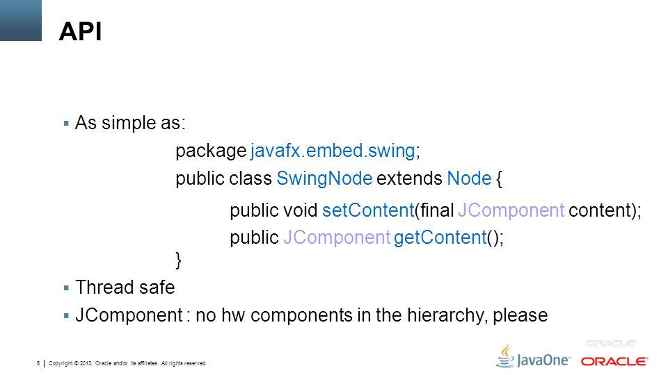 API As simple as: package javafx.embed.swing;