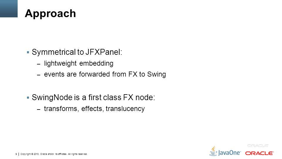 Approach Symmetrical to JFXPanel: SwingNode is a first class FX node: