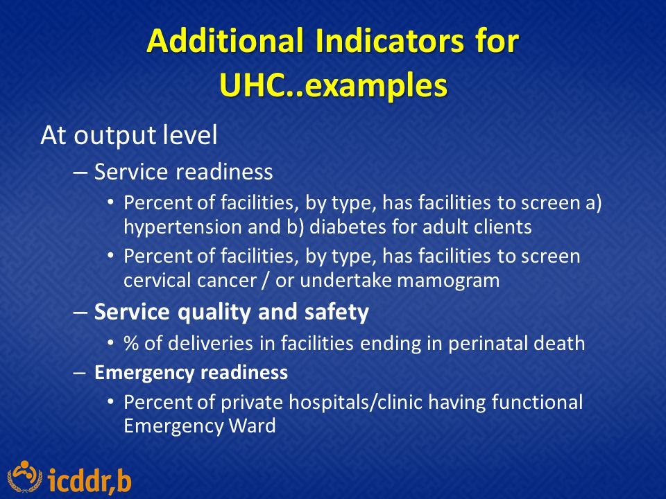 Additional Indicators for UHC..examples