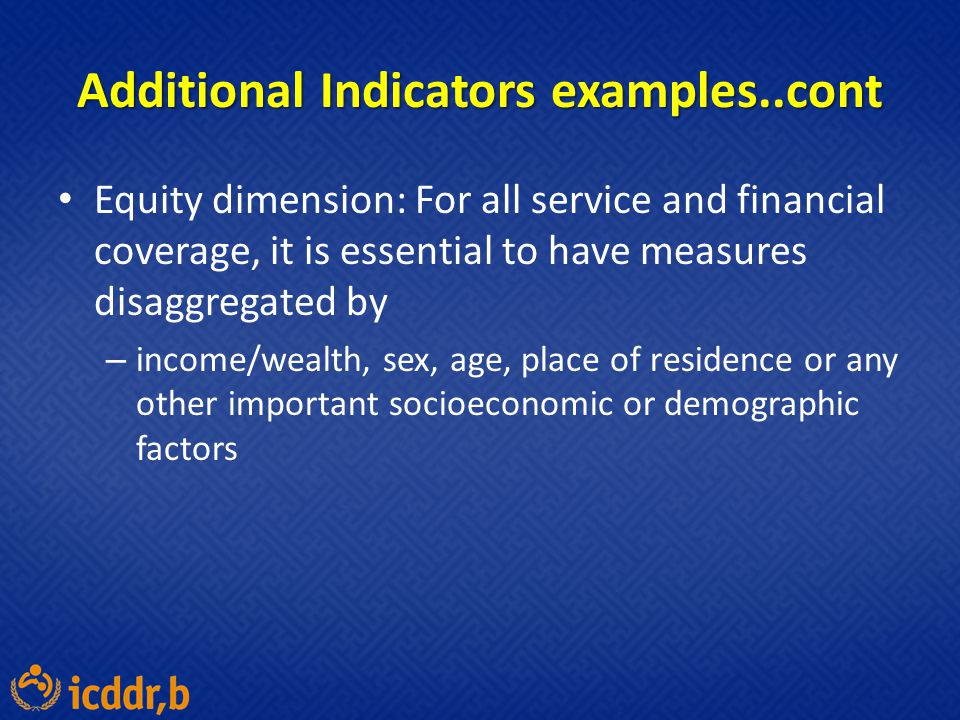 Additional Indicators examples..cont