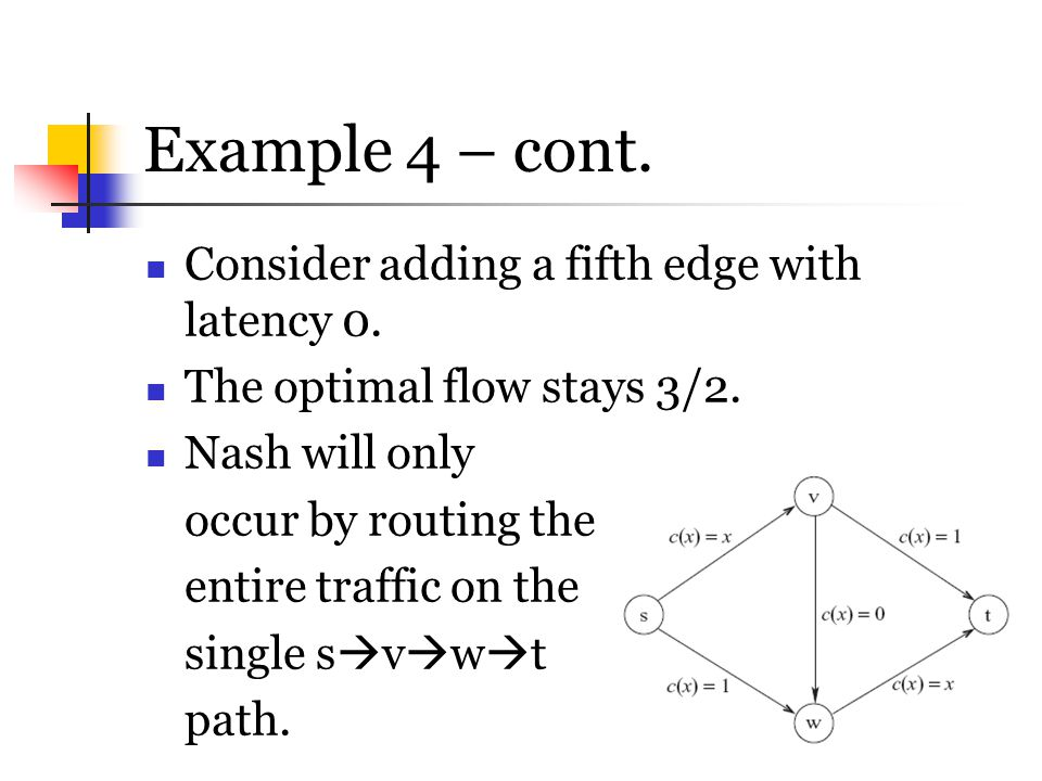 Example 4 – cont. Consider adding a fifth edge with latency 0.