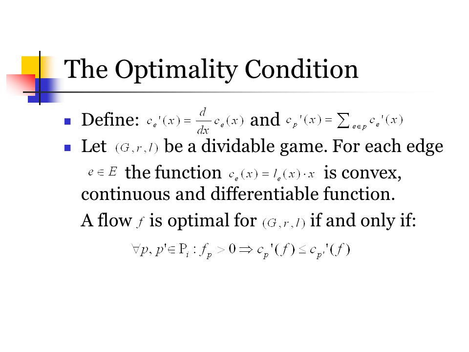 The Optimality Condition