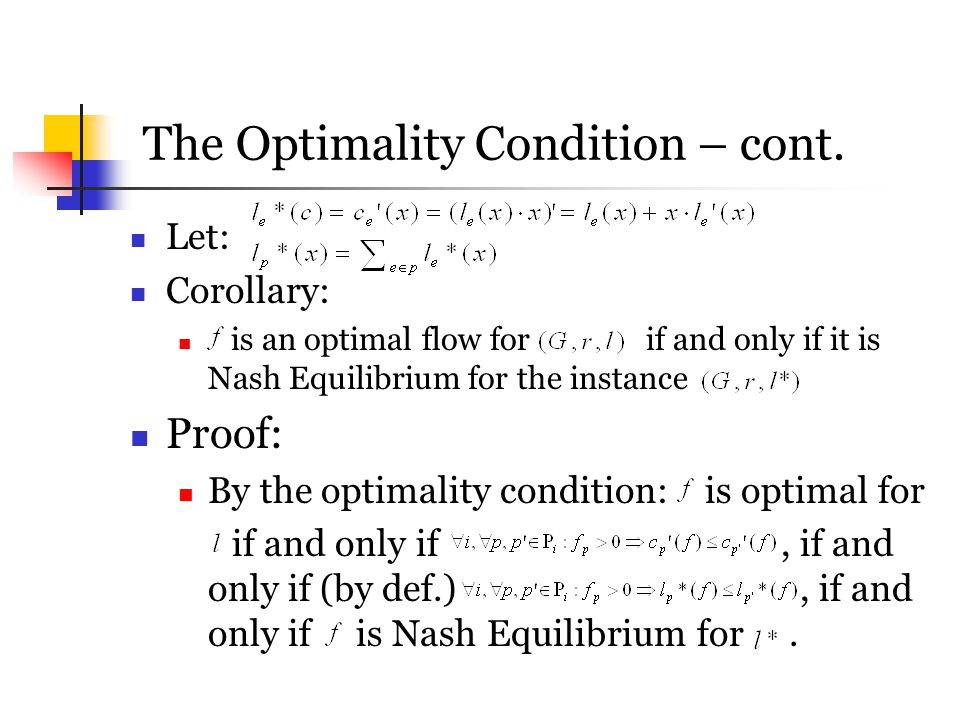The Optimality Condition – cont.