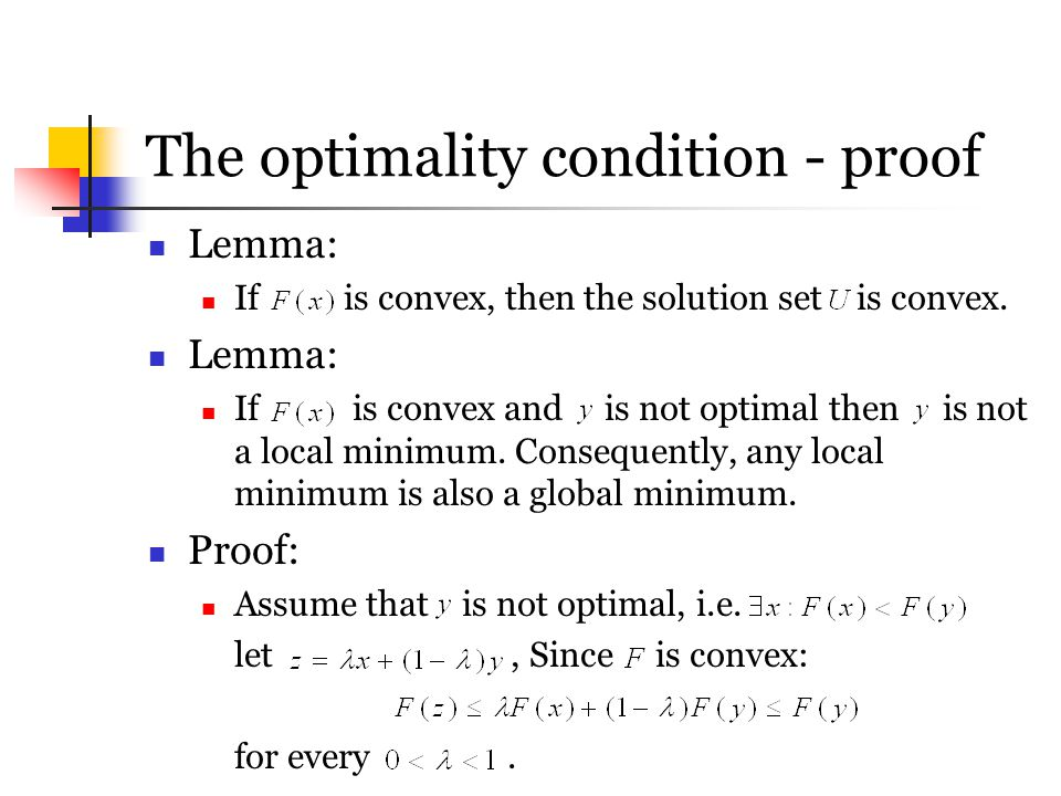 The optimality condition - proof