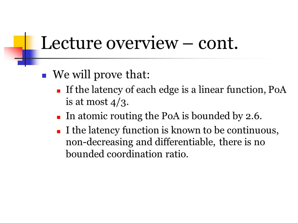Lecture overview – cont.