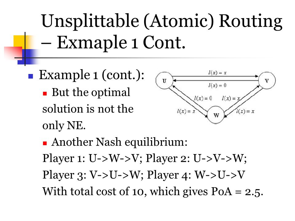 Unsplittable (Atomic) Routing – Exmaple 1 Cont.