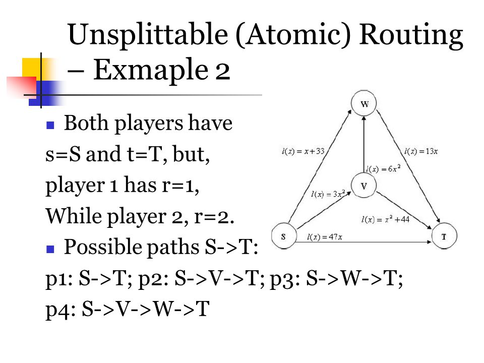 Unsplittable (Atomic) Routing – Exmaple 2
