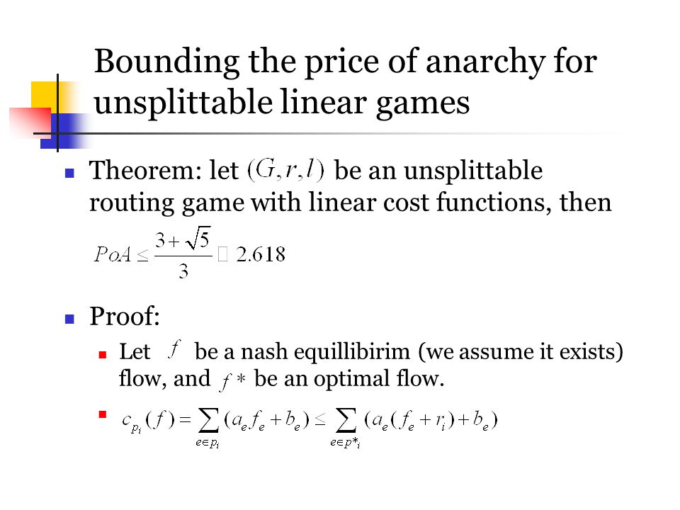 Bounding the price of anarchy for unsplittable linear games