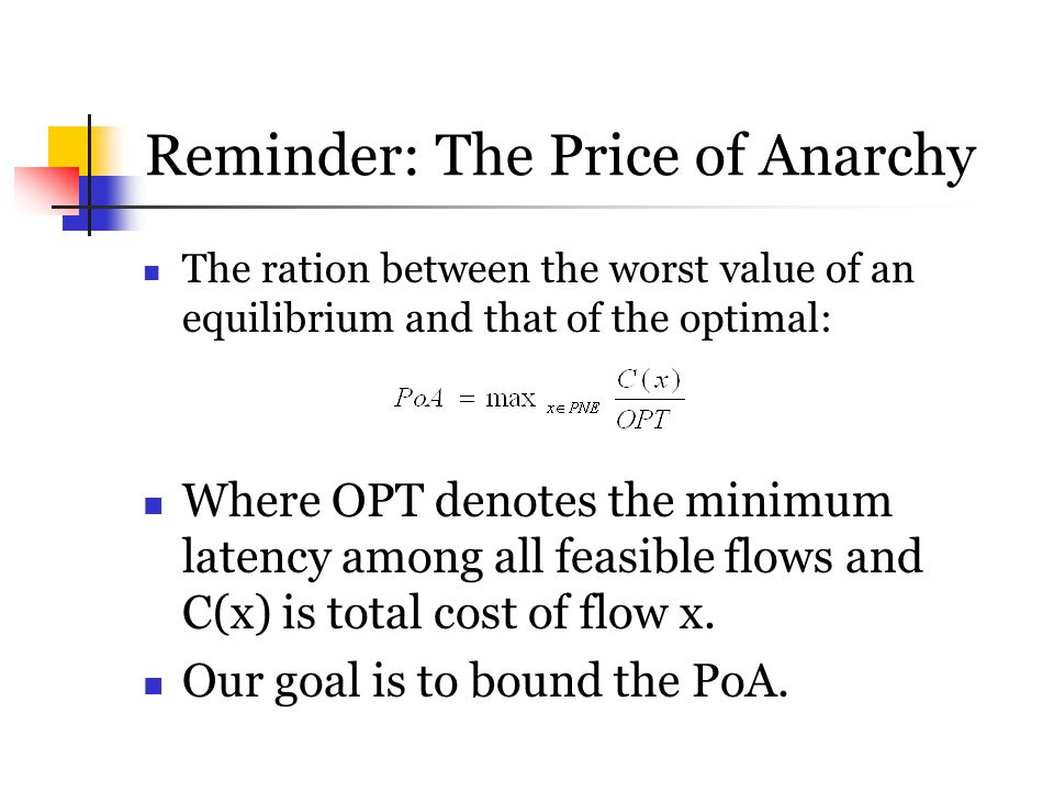 Reminder: The Price of Anarchy