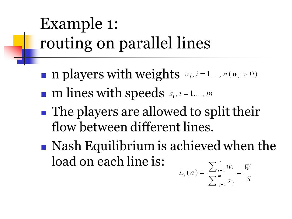 Example 1: routing on parallel lines