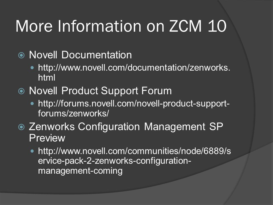 More Information on ZCM 10