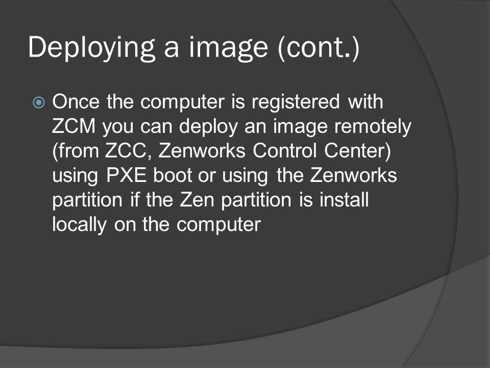 Deploying a image (cont.)