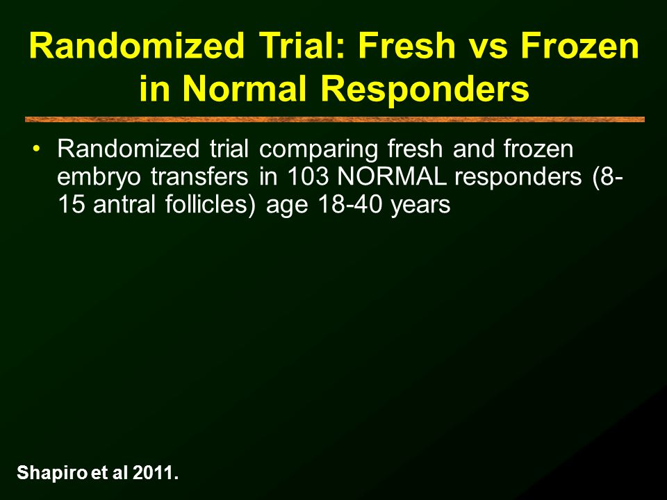 Randomized Trial: Fresh vs Frozen in Normal Responders