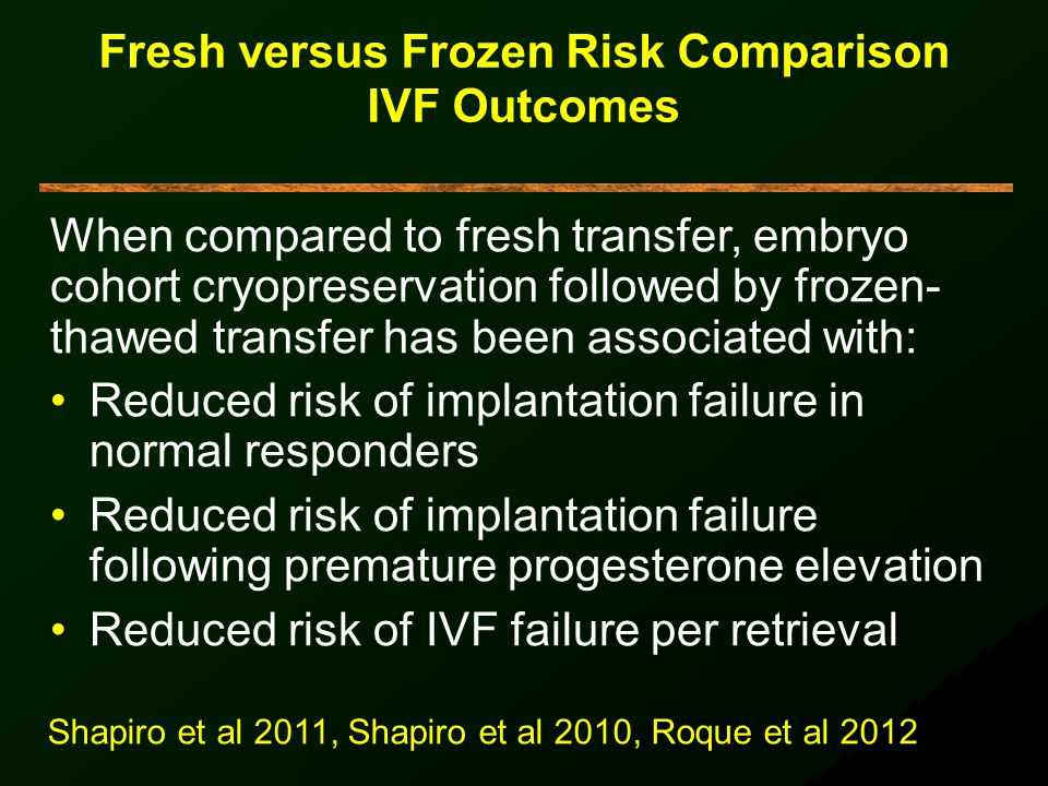 Fresh versus Frozen Risk Comparison