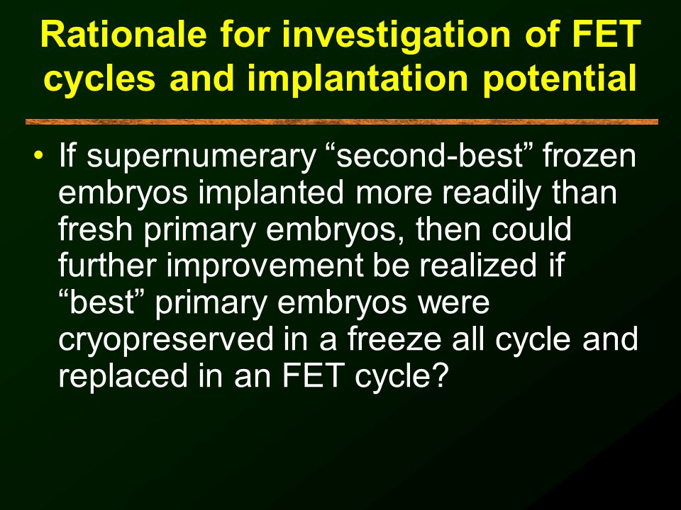 Rationale for investigation of FET cycles and implantation potential