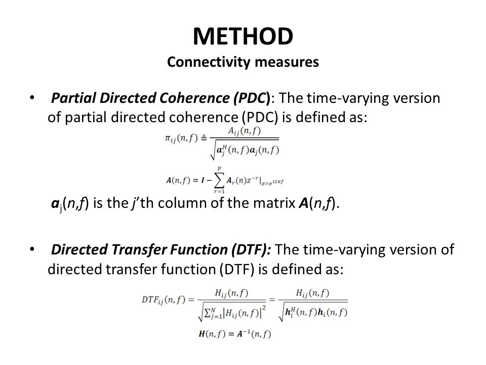 METHOD Connectivity measures
