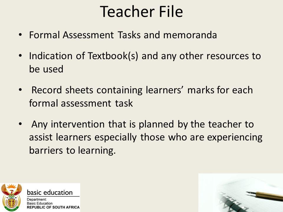 Teacher File Formal Assessment Tasks and memoranda