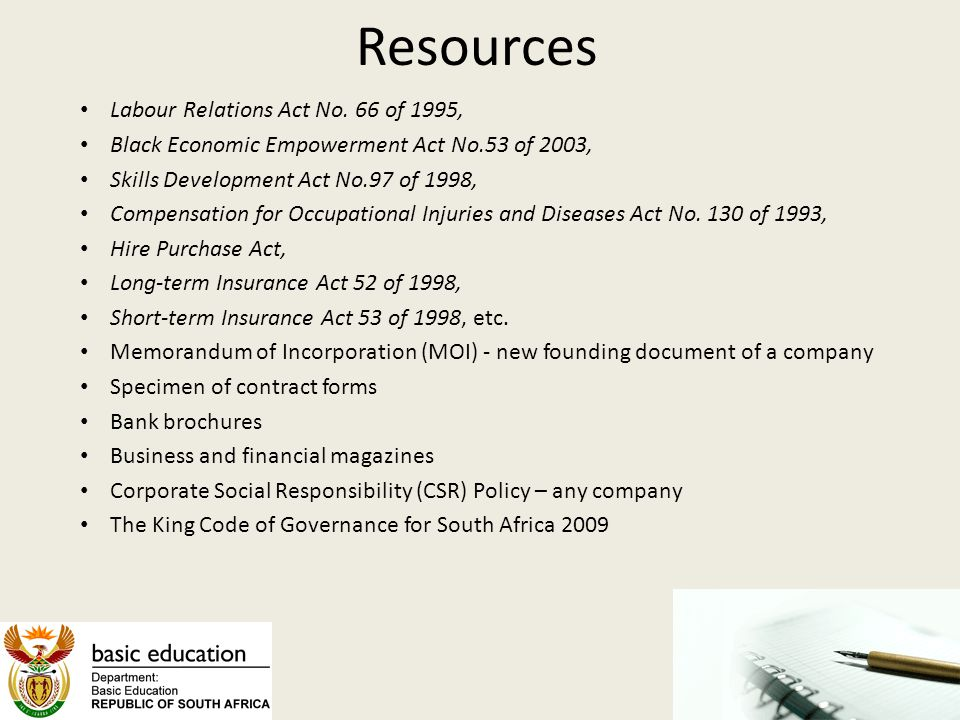 Resources Labour Relations Act No. 66 of 1995,