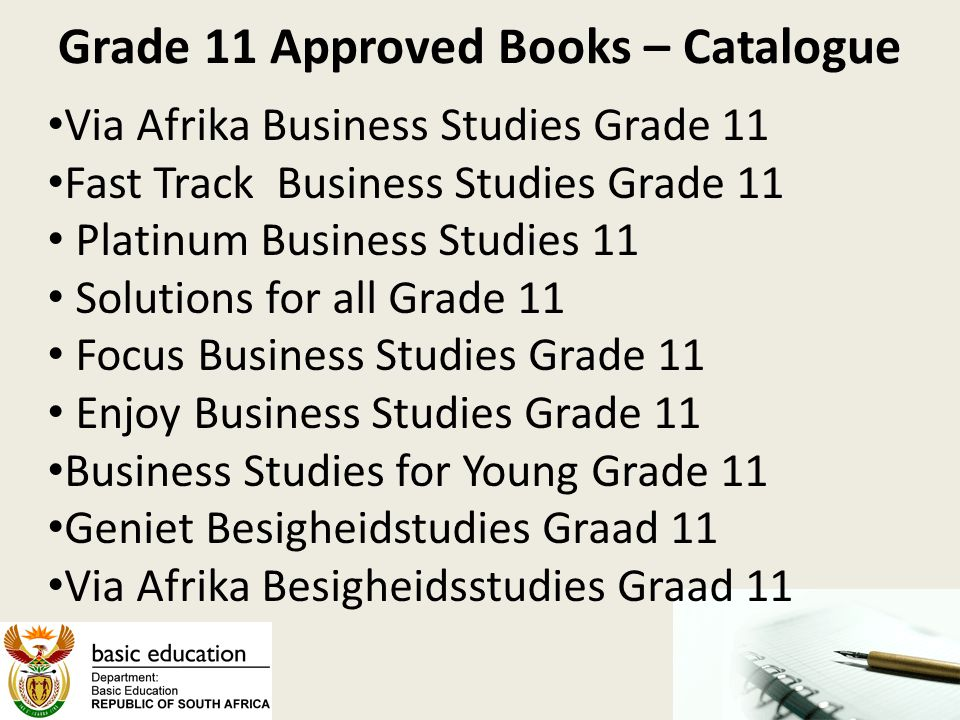 Grade 11 Approved Books – Catalogue