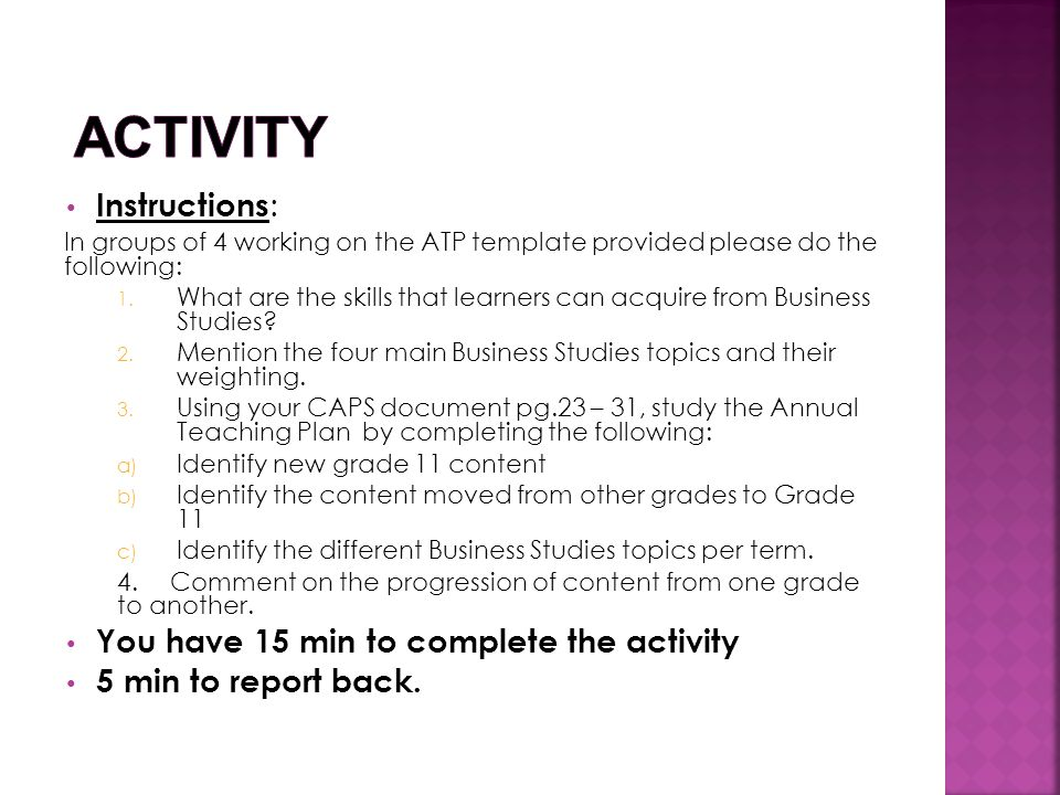 Activity Instructions: You have 15 min to complete the activity