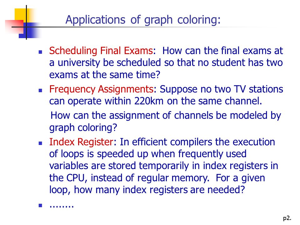 Applications of graph coloring: